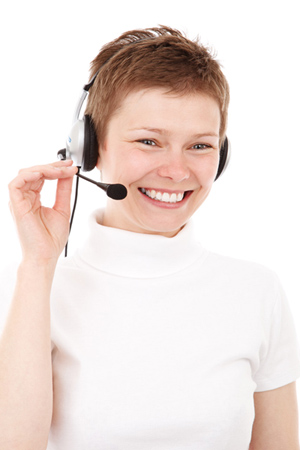 Customer Service Women on Phone with Headset