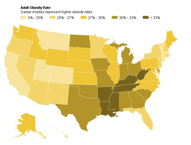 Obesity Rates by State U.S. Map