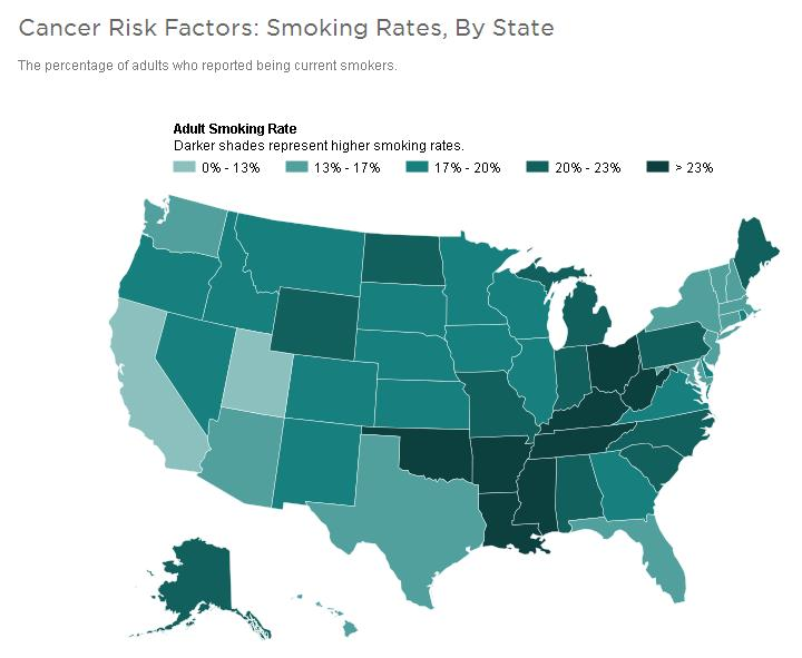 Smoking Rates by State U.S. Map