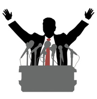 Politician on the Podium with microphones