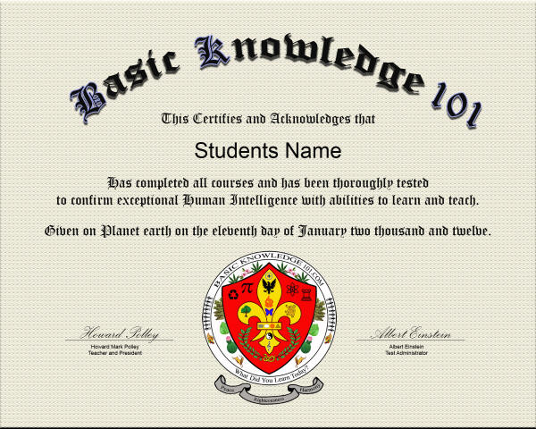 Basic Knowledge 101 Diploma Certificate