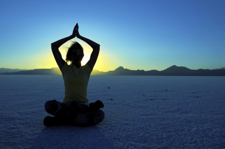 Yoga Meditation at Sunset or Sunrise